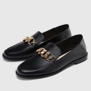 Zara Basics Leather Chain Link Loafers NWT